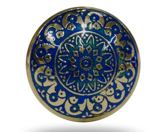 France Etch Metal Knob, Gold and Blue Decorative Door Knob, Geometric Print Furniture Handle for a Dresser Drawer, Cabinet or Cupboard Door