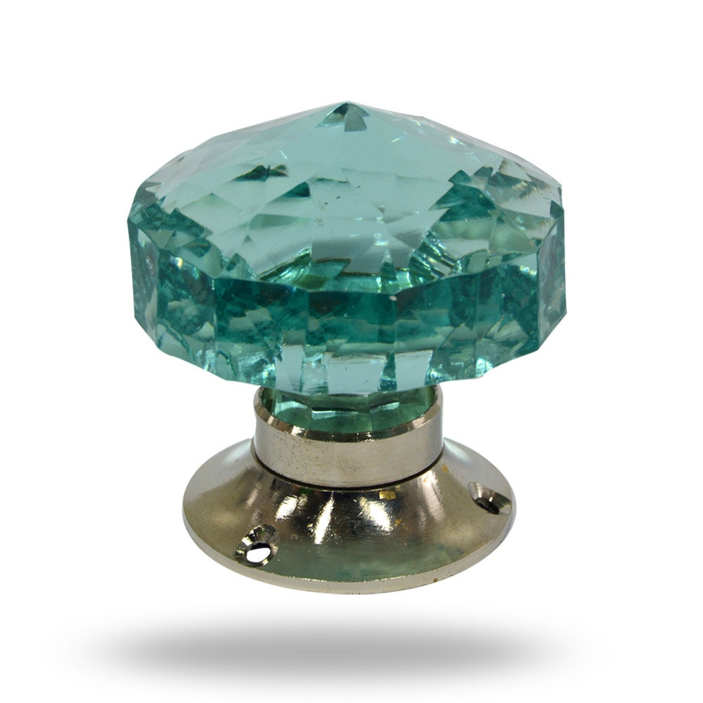 Unique Large Mortice Knob, Turquoise Blue Faceted Cut Glass Door ...