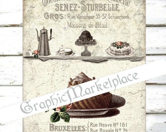 Patisserie Chocolate Cake Confiserie Large Image Instant Download Vintage Transfer Fabric digital collage sheet printable No. 1479