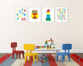 "Alphabet&Numbers Print, ABC Art Print, Kids Wall Decor, Nursery Wall Art, Nursery Wall Decor, Set of 4 Prints8"" x 10"",Yellow,Red,Blue,Green"