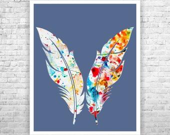 "Feather Art , Home Art  Print 8"" x 10"", Wedding Art, Home Wall Decor,Bride and Groom art, Home Poster Print, Home Wall Art"