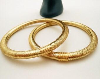 Gold Lame Vintage Bangle Bracelets