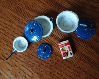 Vintage Miniature Speckled Enamel, Blue Kitchen Pots and Pans, Metal Cookware Set,Lids,Doll House Cooking Accessories,Rustic Country,Grandma