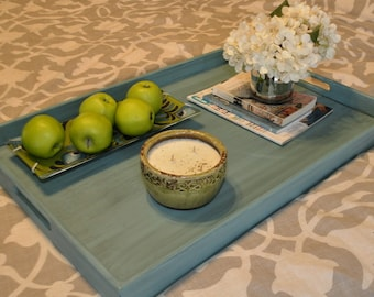 "16x24"" or 20x30"" Ottoman Tray - Distressed Turquoise"