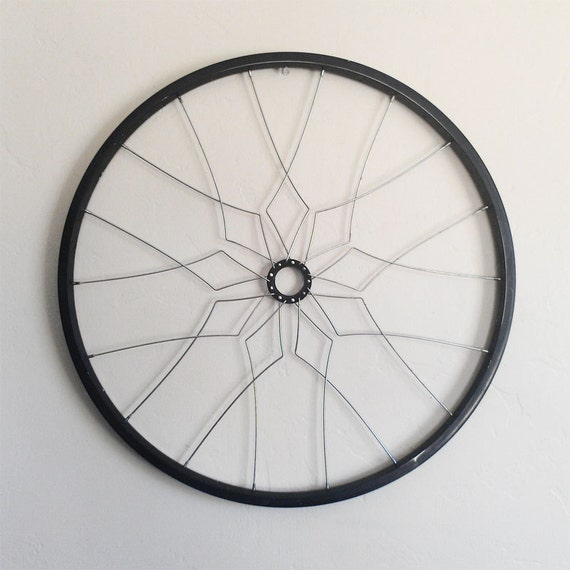 Bicycle wall art ajah geometric home decor recycled bike for Bicycle wheel wall art