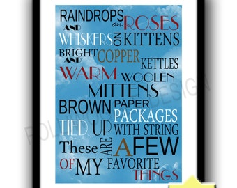Raindrops on Roses, Sound Of Music Poster, minimalist, nostalgic, nostalgia, wall decor, typography