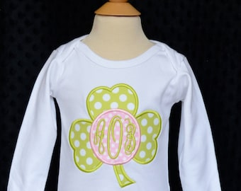 Personalized St Patricks Patty Day Shamrock Monogram Applique Shirt or Onesie Girl or Boy