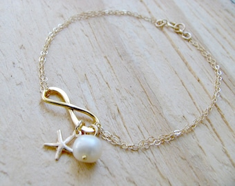 Personalized Infinity Bracelet Pearl Starfish Bracelet Infinity Jewelry 14k Gold filled Infinity Bracelet Bridesmaid Sets beach wedding