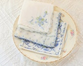 Vintage Ladies Blue Printed Handkerchiefs, Set of 3, Shabby Chic, Wedding, Cottage Style, Crafts, Ladies Accessories