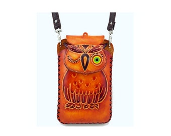 Owl Cell Phone Case /  Genuine Leather Cell Phone Case /  Large Note 3