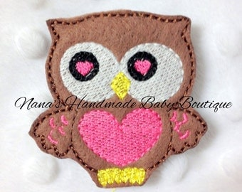 Owl with Heart Feltie/Clippie Design - 4 x 4 DIGITAL EMBROIDERY DESIGN