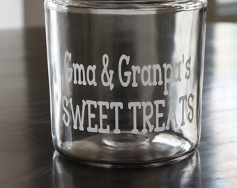 "Personalized Grandparent ""SWEET TREATS"" Jar"