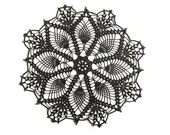 "Black crochet doily, lace doily, round doily, 12"", Halloween decor"