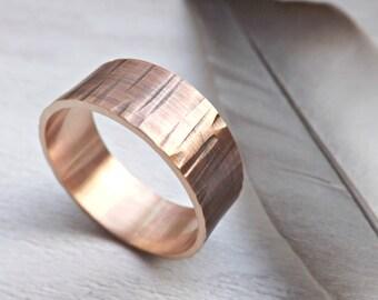tree bark ring bronze, bronze mens ring, wood grain ring, bronze anniversary ring for him, structured ring bronze, waterfall ring bronze