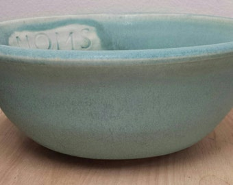 """Teal Pottery Serving or Fruit Bowl with funny silly quote """"Noms"""" // Salad Bowl // Handmade Dinnerware // Turqouise Pottery // Noms Bowl"""