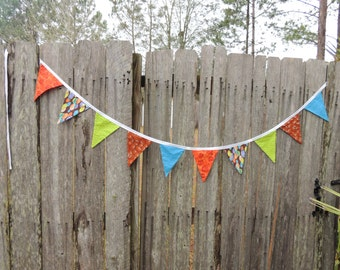 Handmade bunting for boys room or party
