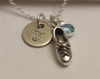 Tap dance necklace, tap dancing initial necklace