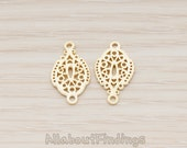 PDT1192-MG // Matte Gold Plated Brushed Oval Oriental Pattern Pendant, 2 Pc
