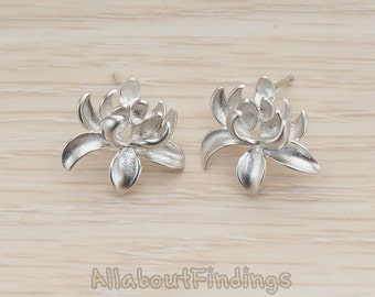 ERG293-MR // Matte Original Rhodium Plated Full Bloom Lotus Flower Earpost, 2Pc