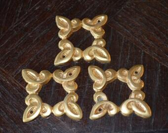 Antique Set of 3 Mounts French Gilt Brass Square Trim Decorative Hardware