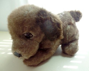 """1982 Plush Brown puppy dog.  Made in Korea. 15"""" long.  Very good condition"""