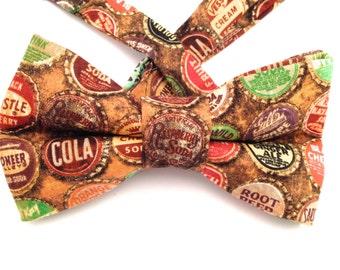 Soda caps bow tie, Edgy bow tie, Eccentric bow tie, soda cap necktie, brown bow tie, soda caps bow ties,soda cap tie, Father's Day Gift