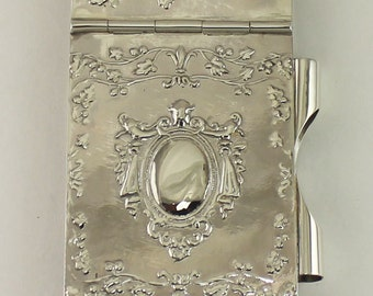 Sterling Silver Handmade Victorian Style Notepad, Edwardian Style Notepad , Antique Style Notepad,