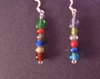 Silver Glass  Beaded Hippie Colorful Dangle Handmade Earrings