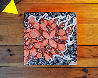 Original canvas on frame * FLowers for Peace *, decoration painting 30 * 30 cm.