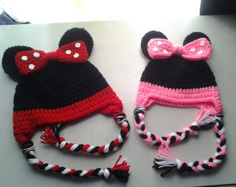 ONE Crochet baby Minnie Mouse hat, you choose red or pink one baby toddler girl Minnie Mouse hat, minnie hat, minnie beanie, earflaps braids