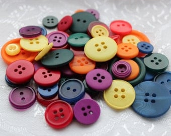 Button Assortment - Bright - 30g - Mix for Card Making, Scrap-booking, Crafting, Decorations