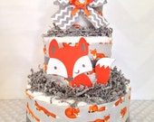 3 Tier Fox Theme Diaper Cake, Fox Baby Shower Centerpiece, Woodland Baby Shower Decoration