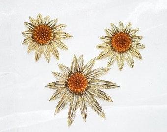 "Vintage Sarah Coventry ""Starburst"" 1960s Brooch Matching Earrings"