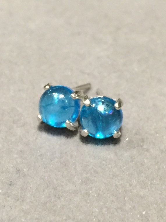 Neon Blue Apatite Earring Studs 6mm Cabochon Apatite by ...