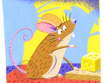 Children illustration - Little brown mouse 4 - art print of original gouache artwork