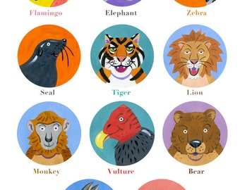 Children illustration - fun animal poster - art print of original gouache artwork