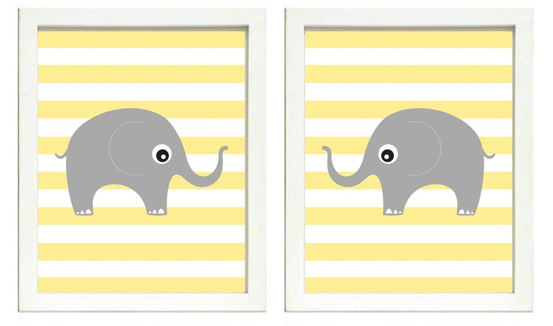 Elephant Nursery Art Nursery Print Set of 2 Elephants Yellow Stripes Grey Child Art Prints Kids Room