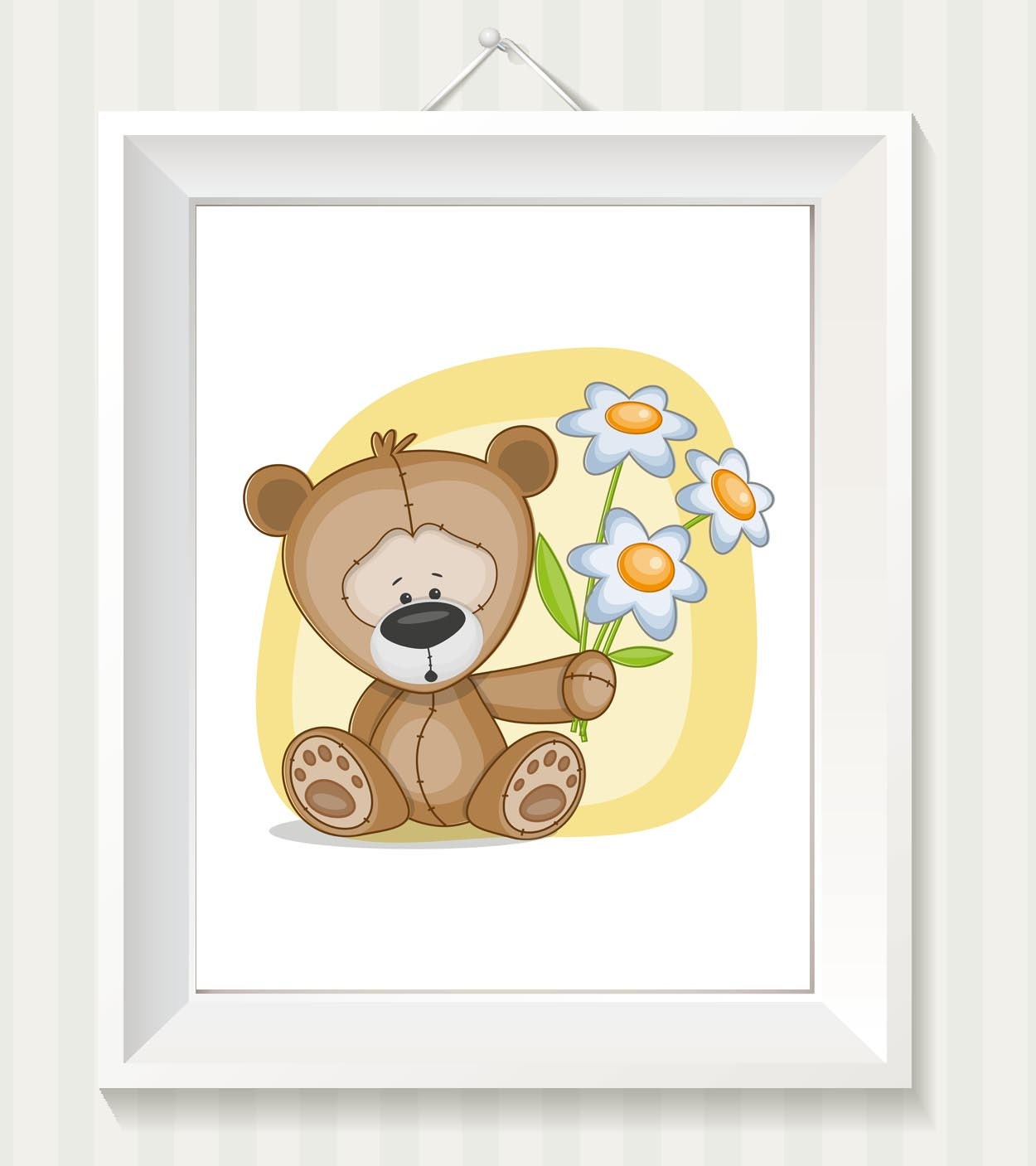 Teddy Bear Nursery Art Nursery Print Teddy Bear Baby Art Baby Animal Brown Yellow Dasies Flowers Pri
