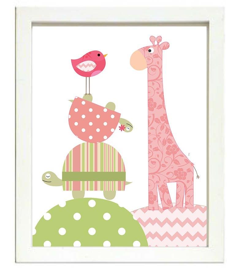 Turtle Giraffe Bird Nursery Art Nursery Print Baby Art Animal Pink Yellow Green Polka Dots Chevron S