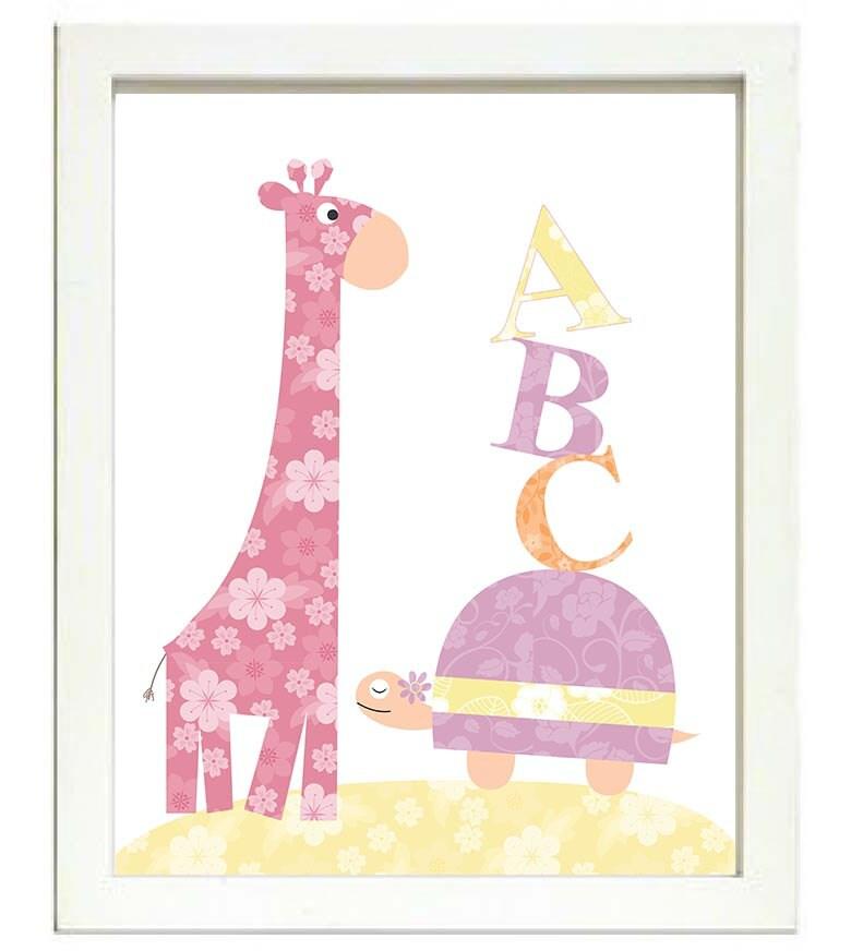 Turtle Giraffe ABC Nursery Art Nursery Print Baby Art Animal Pink Yellow Orange Flowers Print Wall A
