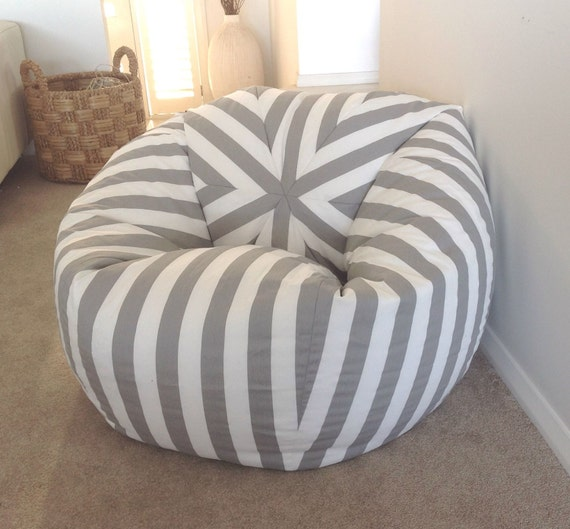Bean Bag Canopy Stripe Grey And White Stripes Cover