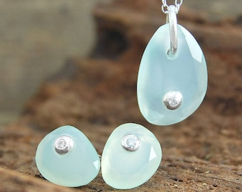 Aquamarine Jewelry, Blue Chalcedony Jewelry, Blue Stone Earrings, Gemstone Jewelry Set, Aqua Chalcedony Earrings, Natural Stone Necklace