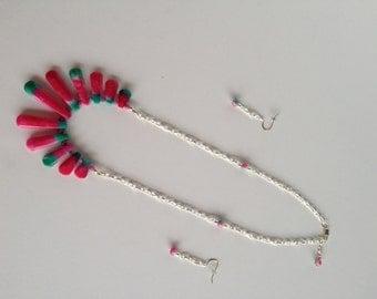 Watermelon Colored Necklace Set