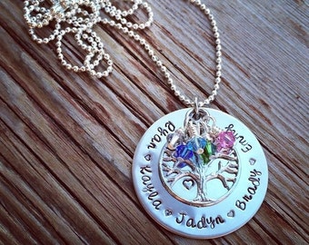 Hand Stamped Family Tree name necklace