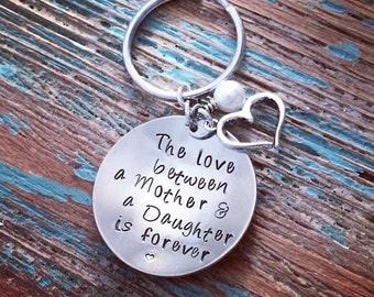 mother & daughter stamped keychain