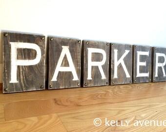 6 CUSTOM WOOD LETTERS- Wood Letters Rustic- Alphabet Letters