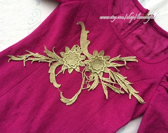 1 pc Golden Silk Thread Flower Lace Appliques Embroidery Venise Lace Patch for Costume Design