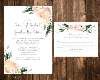 Whimsical Pastel Floral Wedding Invitations; Printable OR set of 25