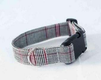 Stylish dog collar,checked pattern adjustable dog collar, quick release pet collar, denim dog collar