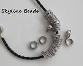Tibetan Style Beads, Rondelle, Short Column Beads, Antique Silver,  11mm  Extra large hole - 6mm